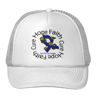 Hope Faith Cure Anal Cancer Flower Ribbon Trucker Hat