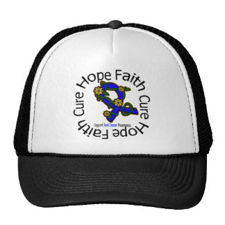Hope Faith Cure Anal Cancer Flower Ribbon Mesh Hat