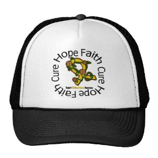 Hope Faith Cure Childhood Cancer Flower Ribbon Trucker Hats