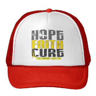 HOPE FAITH CURE CHILDHOOD CANCER T-Shirts & Appare Trucker Hats