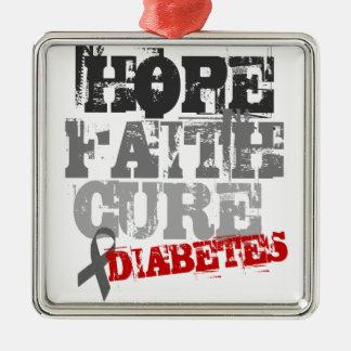Hope. Faith. Cure. Diabetes Silver-Colored Square Decoration