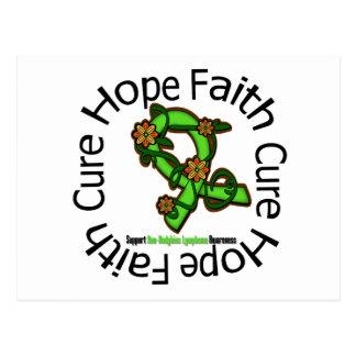 Hope Faith Cure NonHodgkins Lymphoma Flower Ribbon Postcard