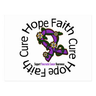 Hope Faith Cure Pancreatic Cancer Flower Ribbon Postcard