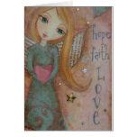 Hope Faith Love Angel Art Print Blank Notecard Note Card