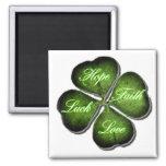 Hope, Faith, Love, & Luck 4 Leaf Clover Magnet