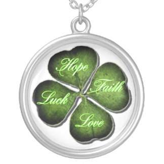 Hope, Faith, Love, & Luck 4 Leaf Clover Silver Plated Necklace