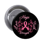 Hope Faith Love Strength Breast Cancer 6 Cm Round Badge