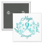 Hope Faith Love Strength Cervical Cancer 15 Cm Square Badge