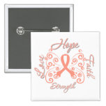 Hope Faith Love Strength Endometrial Cancer 15 Cm Square Badge