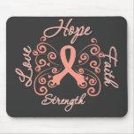 Hope Faith Love Strength Endometrial Cancer Mousepad