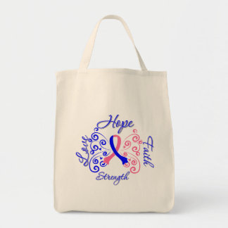 Hope Faith Love Strength Male Breast Cancer Tote Bags