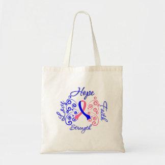 Hope Faith Love Strength Male Breast Cancer Canvas Bags