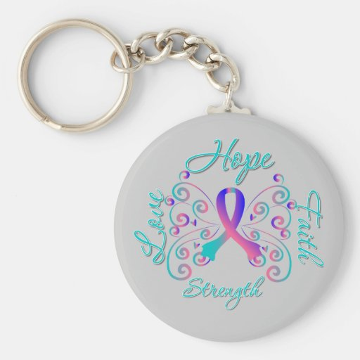 Hope Faith Love Strength Thyroid Cancer Keychain