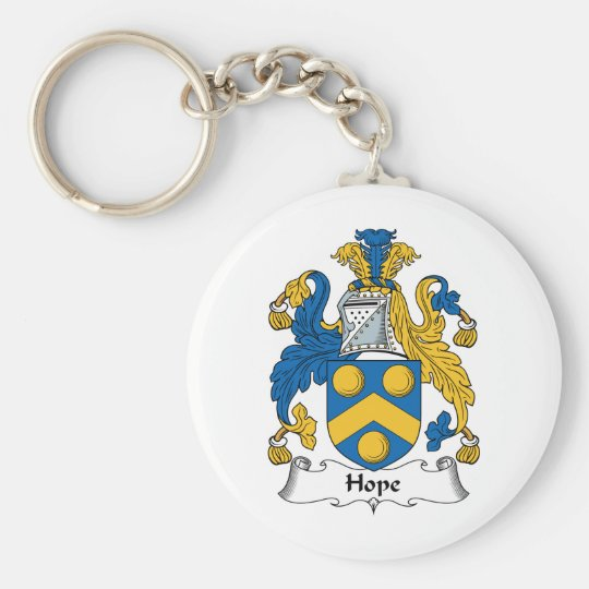 Hope Family Crest Basic Round Button Key Ring