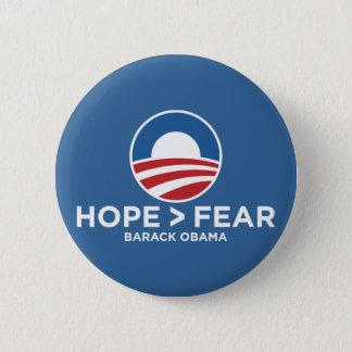 hope > fear obama 08 hope won 6 cm round badge