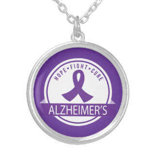 Hope Fight Cure Alzheimer's Disease Silver Plated Necklace
