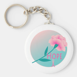 Hope Flower Basic Round Button Key Ring