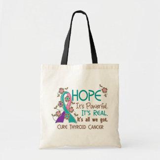 Hope Flower Ribbon Thyroid Cancer Canvas Bag