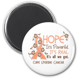 Hope Flower Ribbon Uterine Cancer Magnet