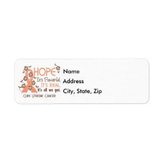 Hope Flower Ribbon Uterine Cancer Return Address Label