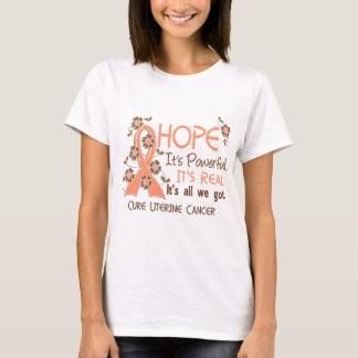 Hope Flower Ribbon Uterine Cancer T-Shirt