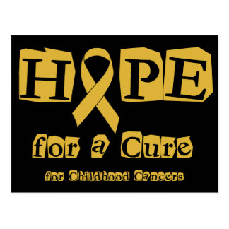 Hope for a Cure - Childhood Cancer Gold Ribbon Postcard
