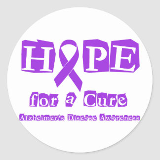 Hope for a Cure - Purple Ribbon Round Stickers