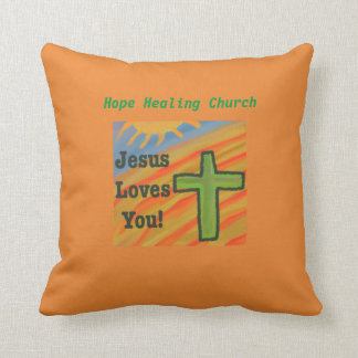 Hope Healing Church Christian Jesus Throw Pillow