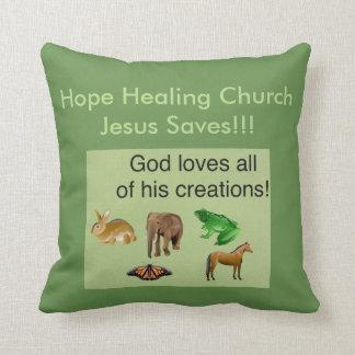 Hope Healing Church Christian Throw Pillow
