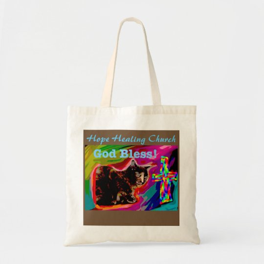 Hope Healing Church God Bless Cat Tote Bag