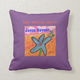 Hope Healing Church Jesus Saves Faith Throw Pillow