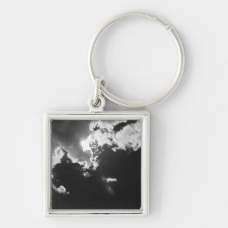Hope in the silver lining of the clouds. Silver-Colored square key ring