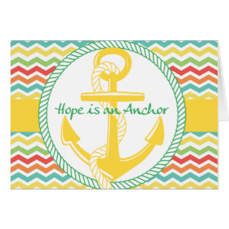 Hope Is An Anchor Nautical Zigzag Blank Card