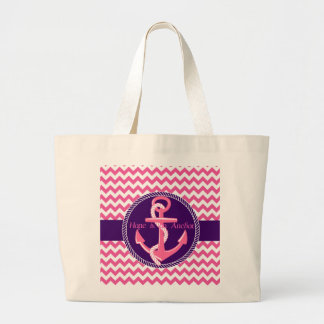 Hope is An Anchor Nautical Zigzag Canvas Tote Bags
