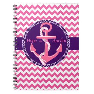 Hope is An Anchor Nautical Zigzag Spiral Notebook