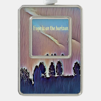 Hope Is On The Horizon Inspirational Landscape Silver Plated Framed Ornament