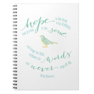 Hope is the thing with feathers quote spiral notebook