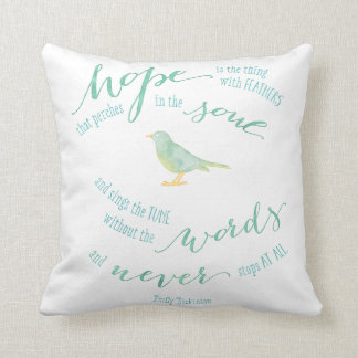 Hope is the thing with feathers quote throw pillow