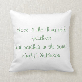 """Hope is the Thing With Feathers"" Throw Pillow"