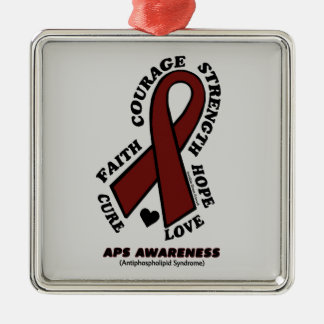 Hope Love Cure...APS Silver-Colored Square Decoration