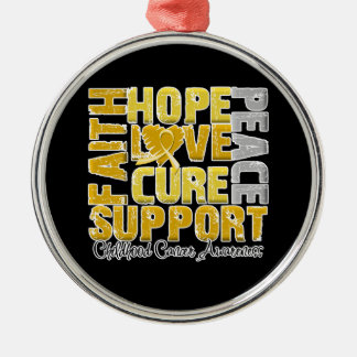 Hope Love Cure Childhood Cancer Awareness Silver-Colored Round Decoration