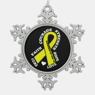 Hope Love Cure...Endometriosis Snowflake Pewter Christmas Ornament
