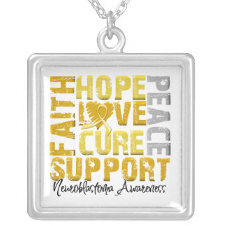 Hope Love Cure Neuroblastoma Awareness Square Pendant Necklace