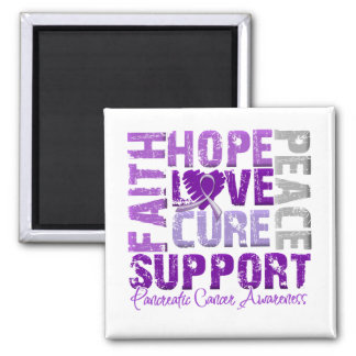 Hope Love Cure Pancreatic Cancer Awareness Square Magnet