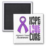 Hope Love Cure Ribbon Alzheimer's Disease Refrigerator Magnet