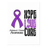 Hope Love Cure Ribbon Alzheimer's Disease Postcard