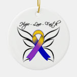 Hope Love Faith Butterfly - Bladder Cancer Round Ceramic Decoration