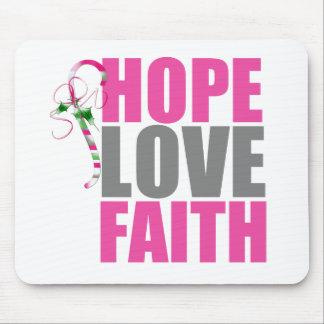 Hope Love Faith Christmas Candy Cane Mousepads