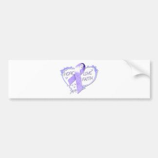Hope Love Faith Heart (purple) Bumper Sticker