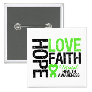 Hope Love Faith Mental Health Awareness 15 Cm Square Badge